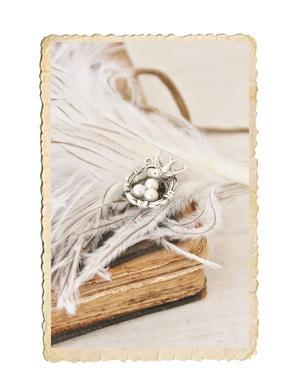 Fågelbo berlock, antik silver
