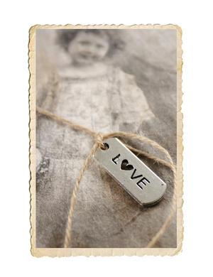 Love berlock, antik silver