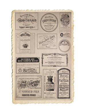 Klippark med själfhäftande vintage etiketter