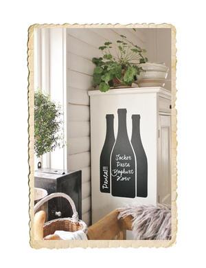 Chalkboard sticker, vinflaskor
